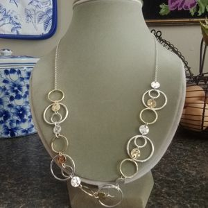 Two Tone, gold and silver necklace + earrings
